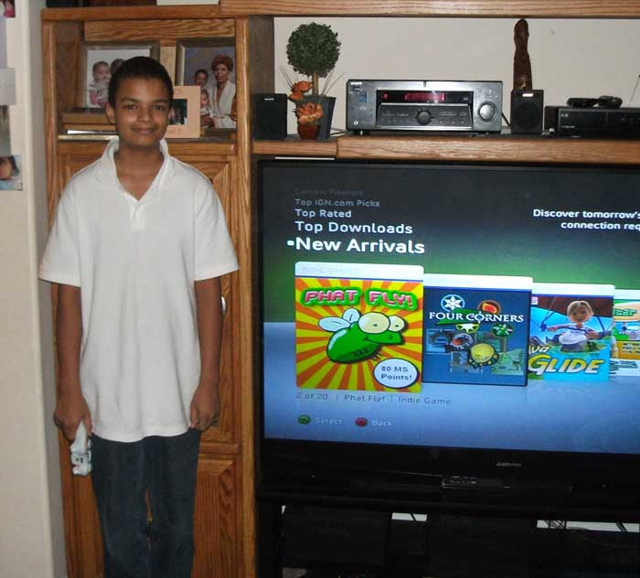Brandon with his game on Xbox Live!
