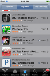 Super Fly in the top 25 of overall apps in the app store!
